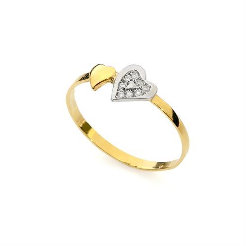 טבעת זהב וזרקונים, טבעת לב, מתנה לבת מצווה, עשויה בזהב 14K