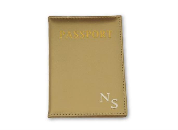 כיסוי לדרכון זהב עם אותיות כסף חלקות
