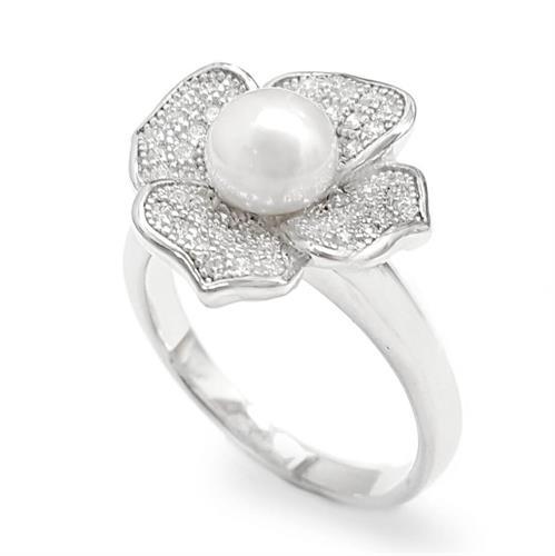 טבעת מכסף משובצת פנינה לבנה וזרקונים RG1637 | תכשיטי כסף 925 | טבעות עם פנינה