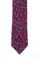 עניבה דגם פרחים גדולים אדום תכלת