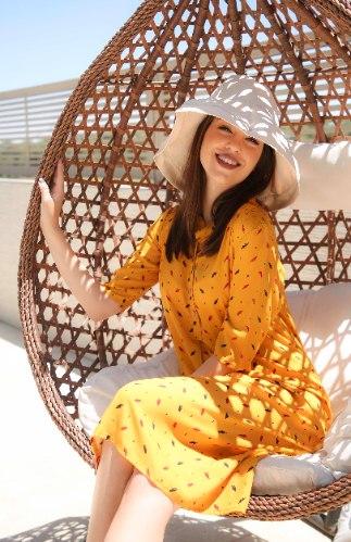 שמלת דניאלה בצבע חרדל