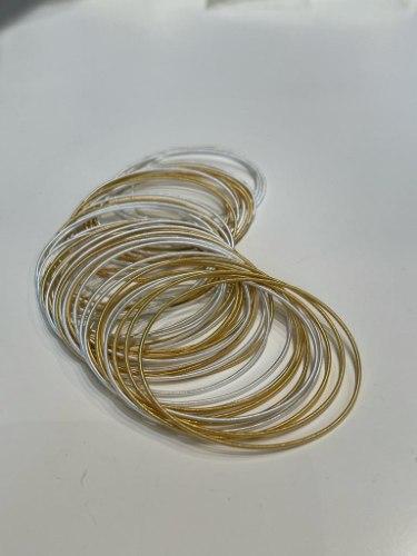 צמידי קפיץ מעורב לבן זהב