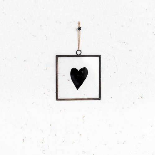 שלט זכוכית קטן - לב (שחור)