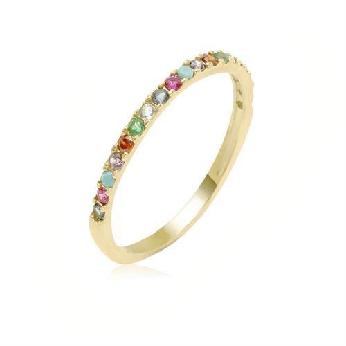 טבעת זרקונים צבעוניות בזהב 14 קרט|טבעת זהב משלימה