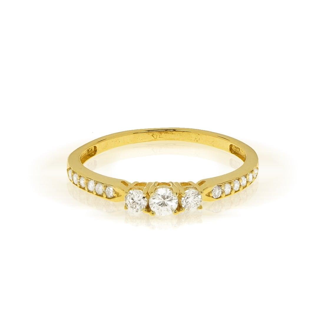 טבעת אירוסין יהלומים 0.32 קראט בזהב 14 קרט