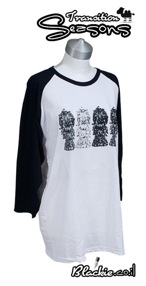 חולצה אמריקאית צבע שחור הדפס גראפי נעול