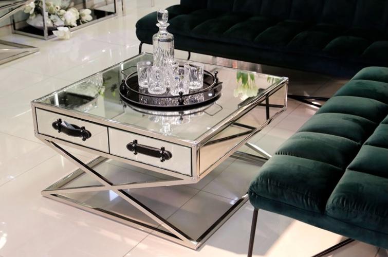 שולחן סלון מרובע רסיטל רגליים נירוסטה
