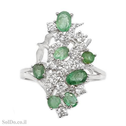 טבעת מכסף משובצת אבני אמרלד וזרקונים RG8715   תכשיטי כסף 925   טבעות כסף