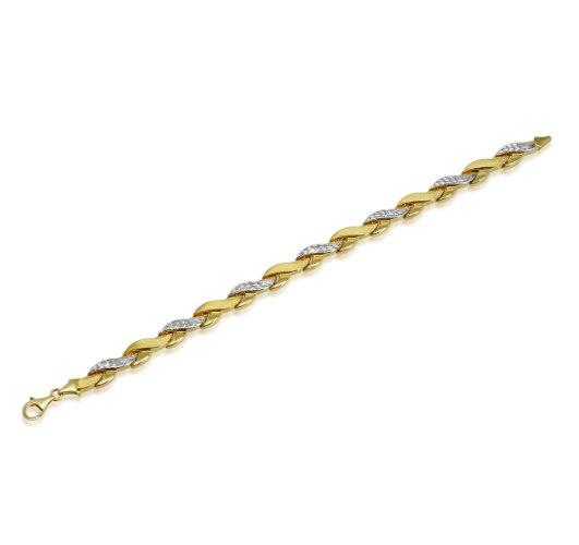 צמיד זהב צהוב ולבן לאישה│ צמיד חוליות לאישה │ צמידי זהב לנשים