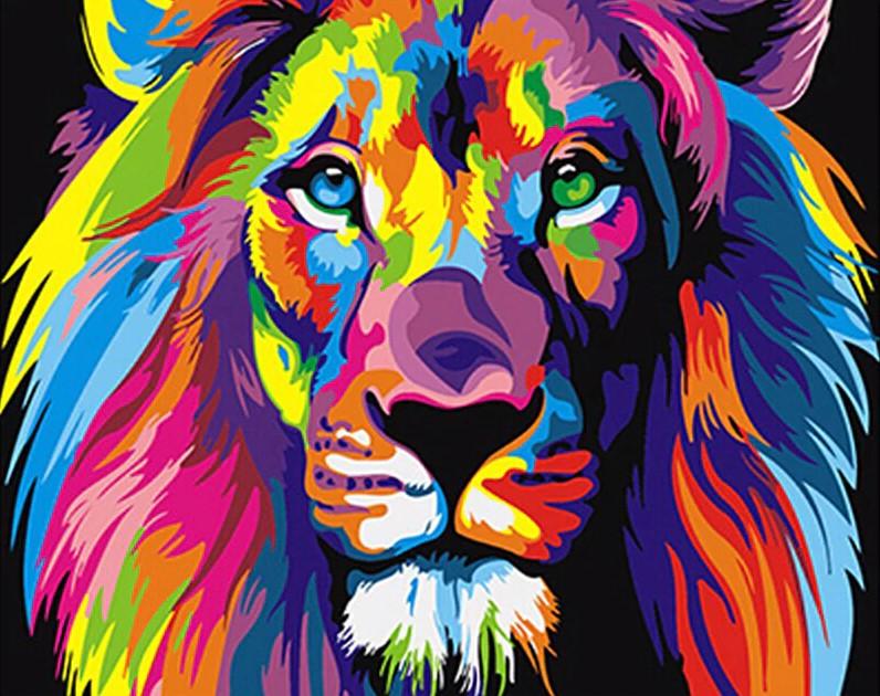 ציור אריה צבעוני עשה זאת בעצמך - צביעה על ידי מספרים
