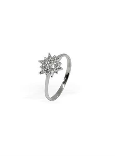 טבעת יהלומים בסגנון כוכב קטן בזהב 14 קרט