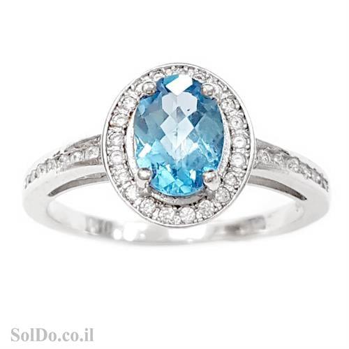 טבעת מכסף משובצת אבן טופז כחולה  וזרקונים RG5982 | תכשיטי כסף 925 | טבעות כסף