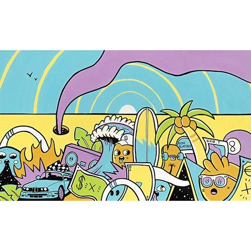 ציור פופ ארט צבעוני לסלון של האמן כפיר תג'ר