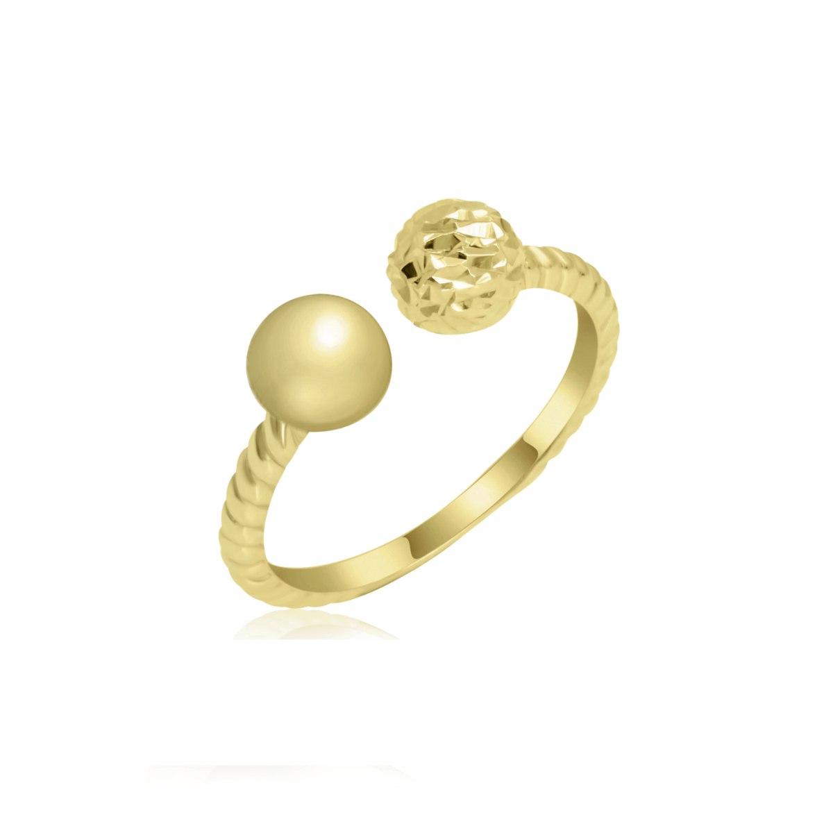 טבעת זהב פתוחה כדורים