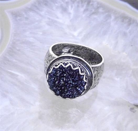 טבעת כסף כתר משובץ דרוזי כחול