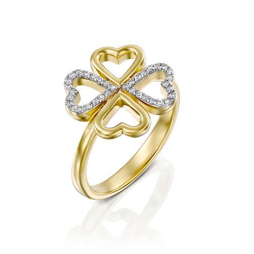 טבעת משאלת לב משובצת יהלומים בזהב לבן או צהוב 14 קראט