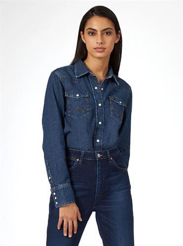 חולצה מכופתרת WRANGLER ICON ג׳ינס כהה