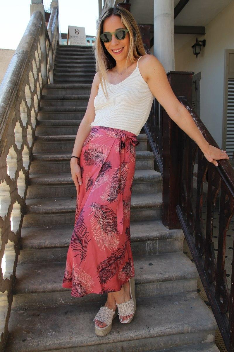 חצאית מעטפת ורודה עלים