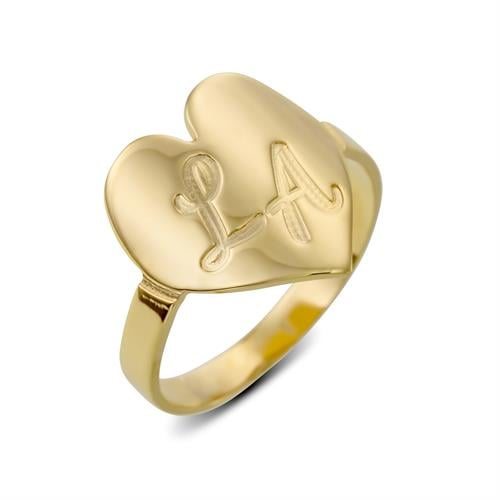 טבעת לב מקומר עם חריטה אישית