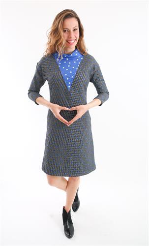 שמלת אירוס נקודות שחור עם כחול