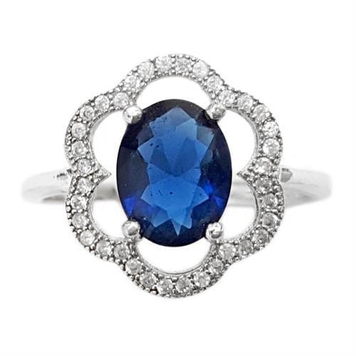 טבעת כסף משובצת אבן זרקון כחולה וזרקונים קטנים RG5644 | תכשיטי כסף 925 | טבעות כסף
