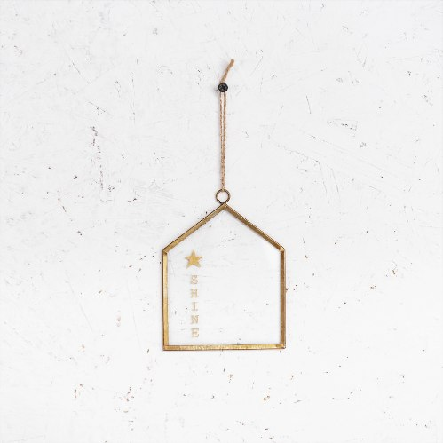שלט זכוכית קטן - בית (זהב)