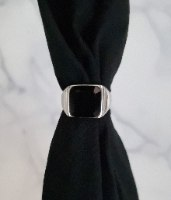 טבעת כסף לגבר אוניקס ריבוע שחור