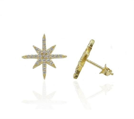 עגילי כוכב זהב וזרקונים צמוד לאוזן
