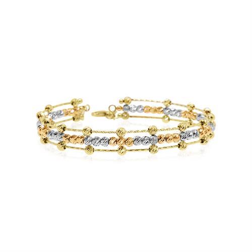 צמיד זהב כדורי בשלושה צבעי זהב ורוד, לבן וורד| צמיד קשיח