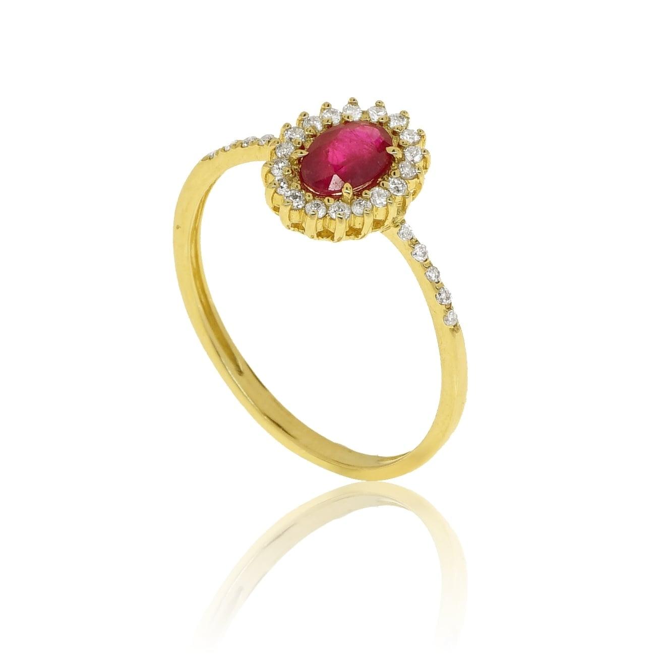 טבעת זהב 14 קרט משובץ אבן רובי  ויהלומים