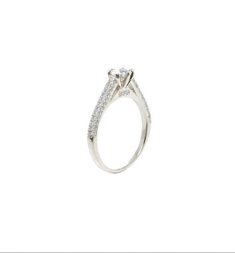 טבעת יהלומים טבעת אירוסין זהב לבן 0.97 קראט