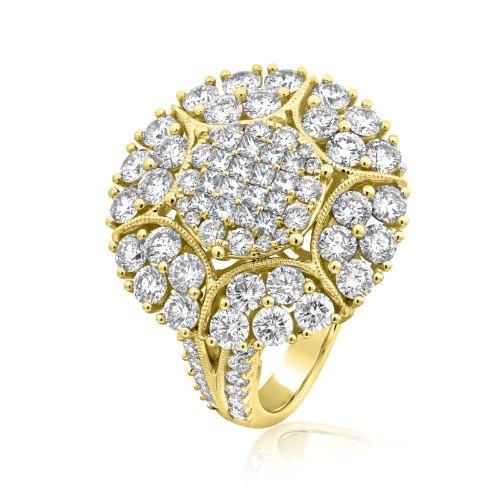 טבעת זהב צהוב 14 קראט משובצת 3.76 קראט יהלומים