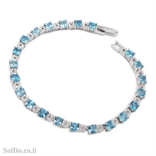 צמיד כסף משובץ אבני טופז כחולות ואבני זרקון  Z3084