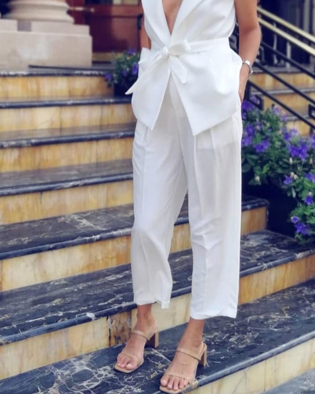 מכנס זורי פריזאי - לבן