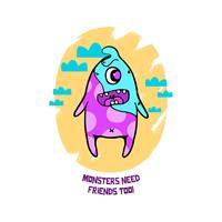 בגד גוף לתינוק Monsters Needs Friends Too