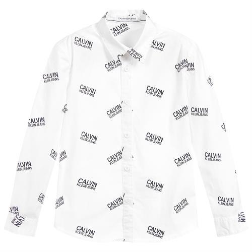 חולצה מכופתרת לבנה פרינט  CALVIN KLEIN