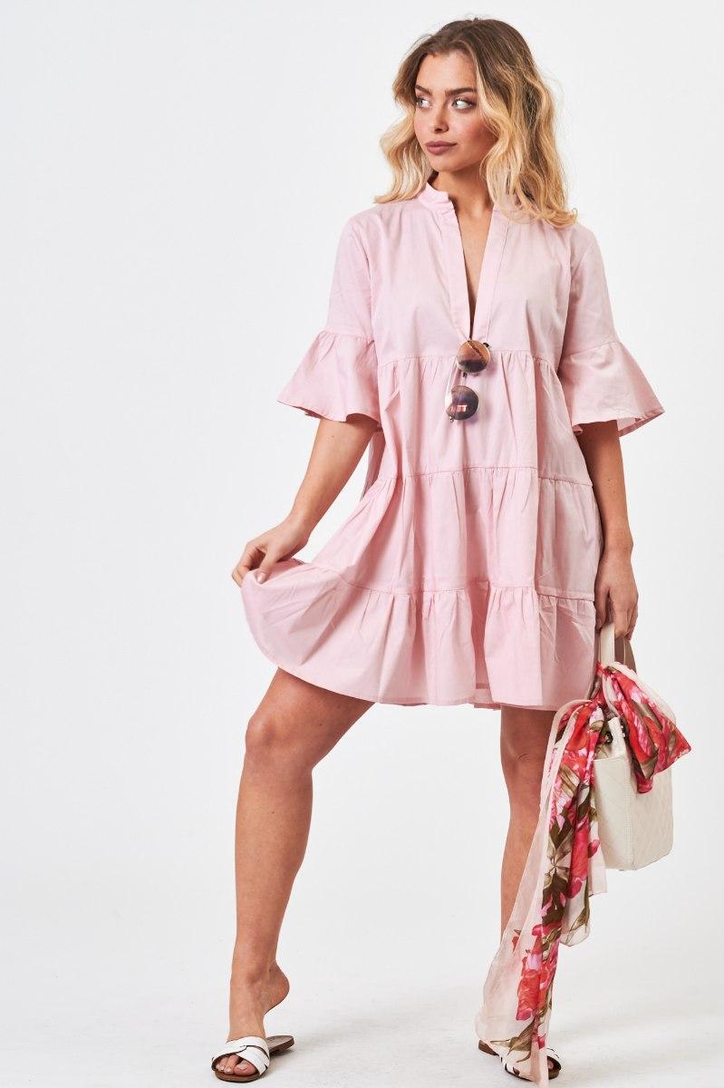 שמלת  כותנה נטלי ורודה