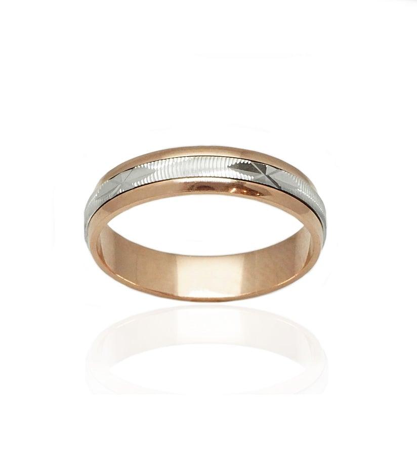 טבעת נישואין לגבר זהב אדום ולבן רוחב 4.6 ממ