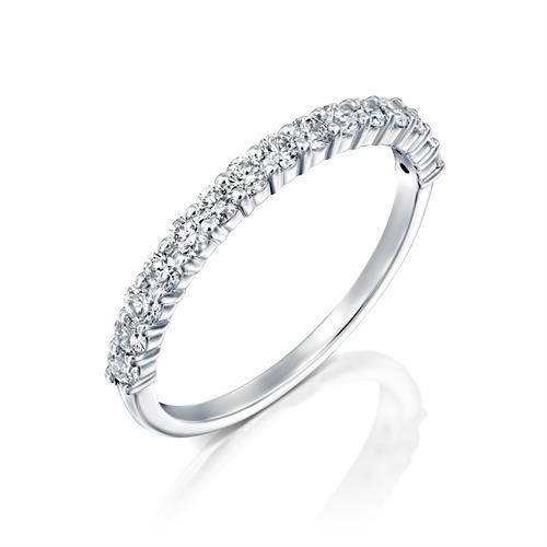 טבעת טניס זהב לבן 14 קראט משובצת יהלומים