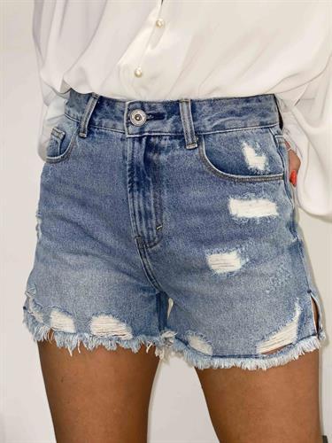שורט ג'ינס גבוה קרעים שסע