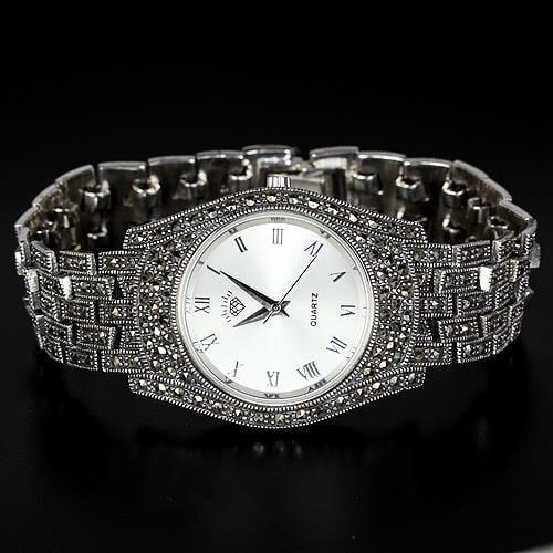 שעון כסף משובץ Marcasite ומעוצב SH3255 | תכשיטי כסף