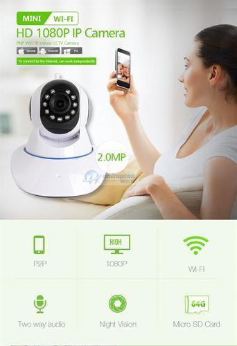 מצלמת אבטחה 2MP HD 1080P חכמה אודיו דו כיווני צילום לילה WIFI