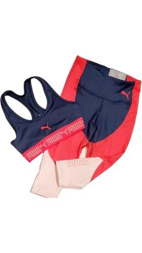 חליפת ספורט טופ וטייץ אדום כחול PUMA