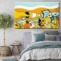 ציור פופ ארט צבעוני לחדר שינה של האמן כפיר תג'ר