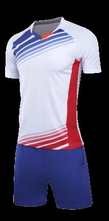 חליפת כדורגל לבן אדום-כחול