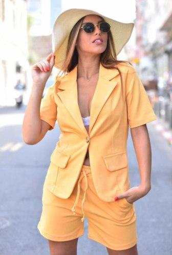 חליפה ג'קט מכנסיים קצרים - צהוב FM