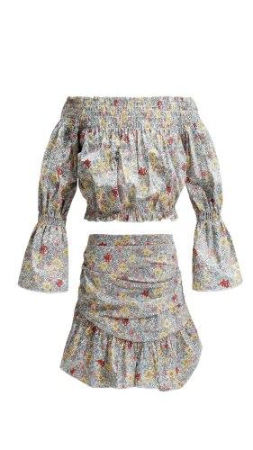 חליפת חצאית הדפס פרחוני 2-14