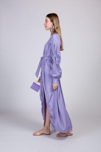 שמלת משי מקסי שילוב כיווץ NEW 2021