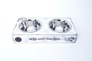 כלי אוכל ושתיה- ג'קסון M צבע מיוחד לבן מוכתם עם חץ