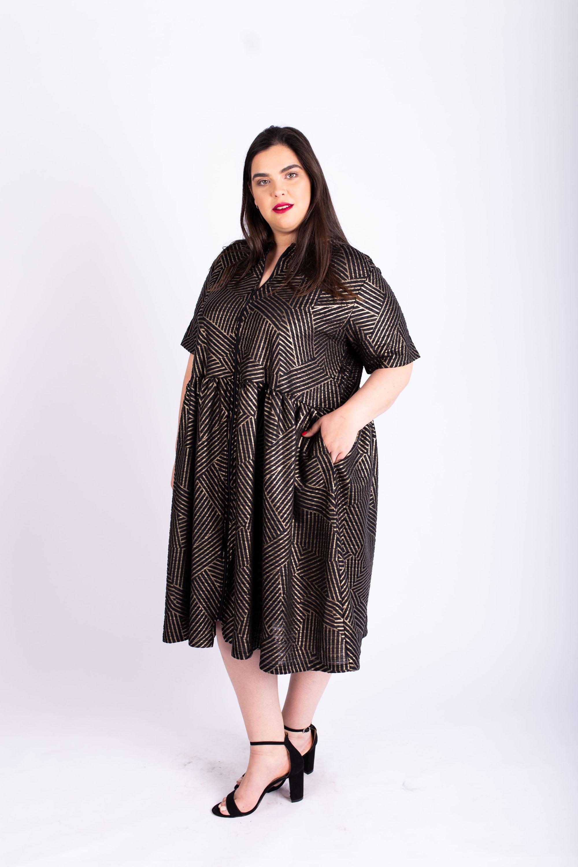 שמלת אורי שחור זהב